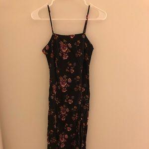 F21 Black Floral Midi Dress with Side Slits S